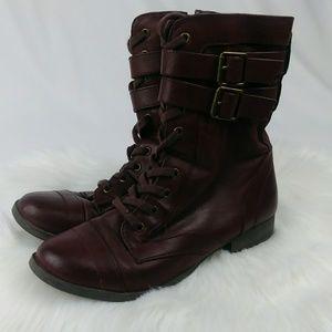 2/$20 Material Girl BERGEN Oxblood Combat Boots